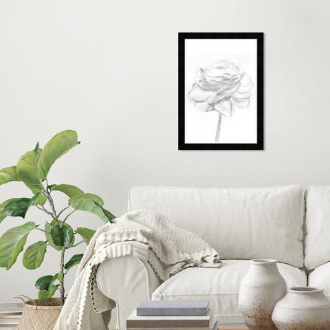 Wynwood Studio 'White Silver Peony' Floral and Botanical Wall Art Framed Print Florals - Gray, White