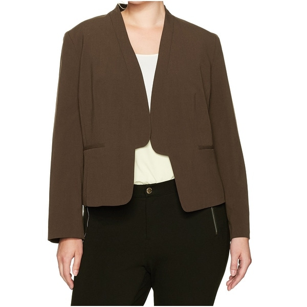 Nine West Brown Womens Size 18W Plus Open-Front Stretch Jacket