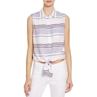 Rails Womens Nicole Button-Down Top Striped Tie-Front