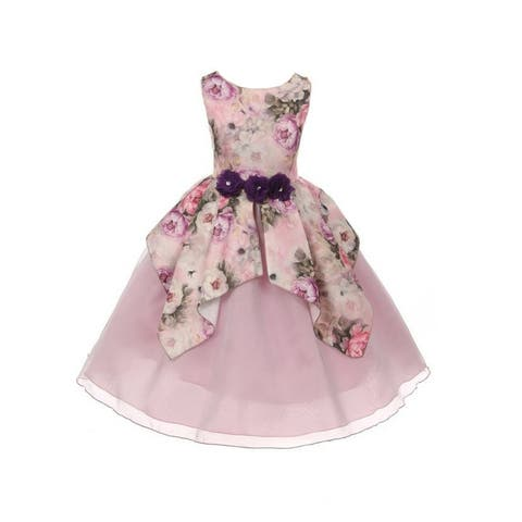 dc0184d2af Girls Lavender Floral Satin Organza Overlaid Junior Bridesmaid Dress