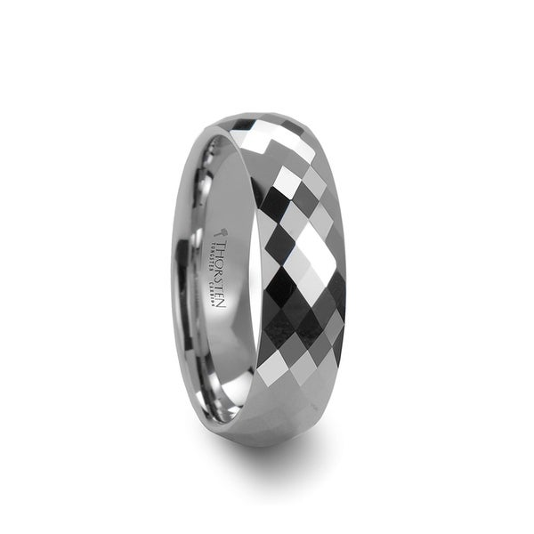 THORSTEN - SCOTTSDALE 288 Diamond Faceted White Tungsten Ring - 6mm