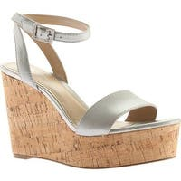 Charles by Charles David Women's Lilla Wedge Sandal Silver Metallic Leather