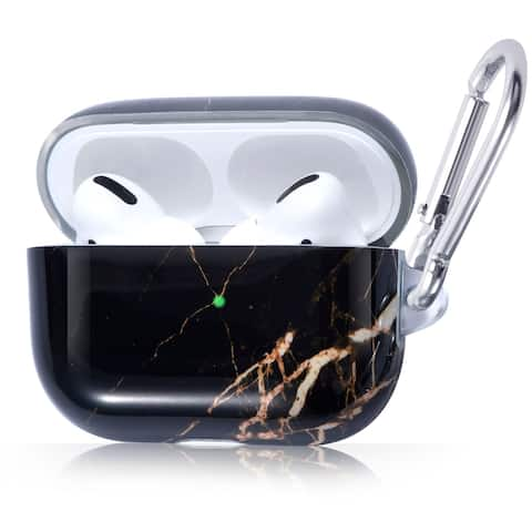 For AirPods Pro Case Marble Glossy Soft TPU Shockproof Protective Cover Black