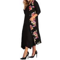 Funfash Plus Size Women Black Pink Floral Long Sleeve Maxi Long Dress