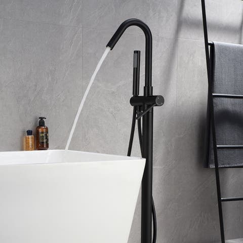 Floor-to-Ceiling Bathtub Tap with Handheld Shower