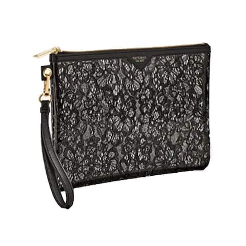 Victoria's Secret Black Floral Lace Large Beauty Cosmetic Wristlet Bag Zip-Up - One Size