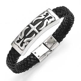 Chisel Stainless Steel Antiqued Black Leather Bracelet