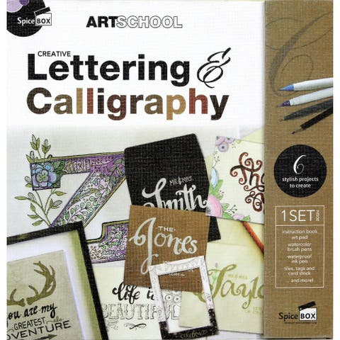 Spicebox Creative Lettering and Calligraphy Kit - Includes Instruction Book, Art Pad, Cardstock and Project Accessories