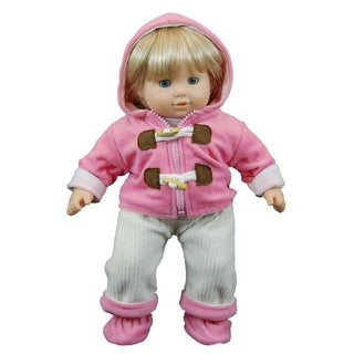 Pink Fleece Overall Set for 15 in. American Girl Bitty Baby`