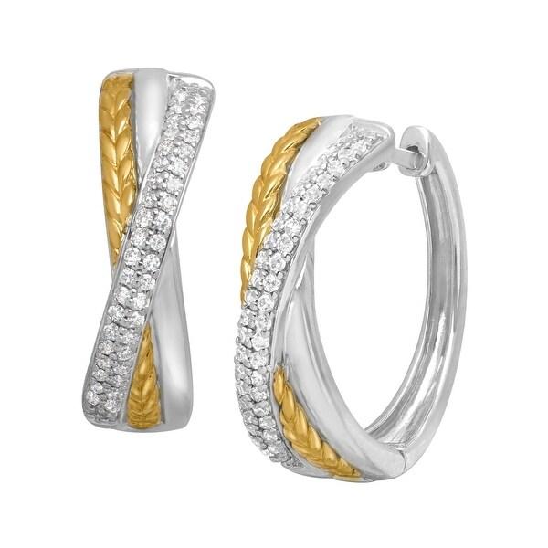 1/3 ct Diamond Hoop Earrings in Sterling Silver & 14K Gold