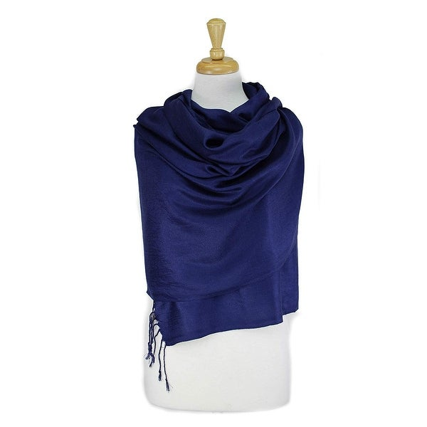 SATIN NECK SCARF LIGHT WEIGHT ALL SEASON SOLID STRIPED DESIGN COLOR PURPLE