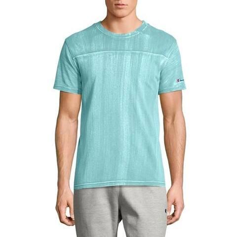 Champion Bleached Wash Crewneck Cotton T-Shirt, Aqua, 2X-Large