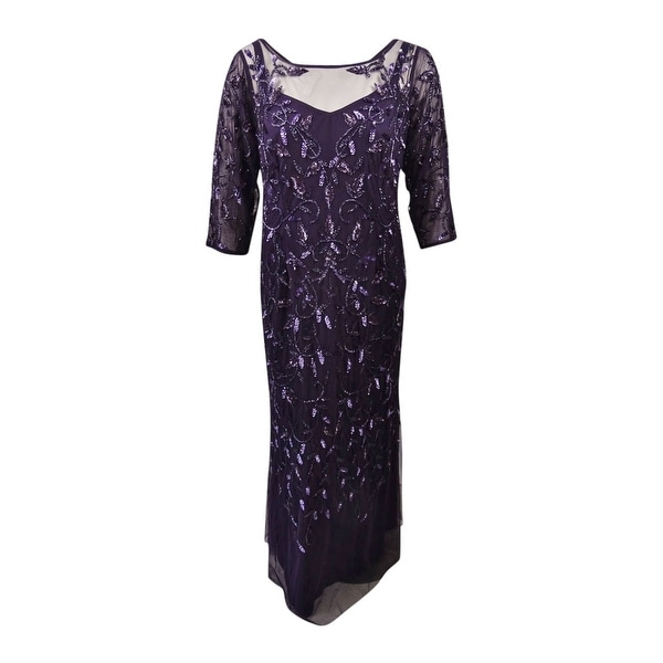 77cc19d0ae1d07 Shop Adrianna Papell Women's Plus Size Sequined Tulle Gown (20W, Amethyst)  - Amethyst - 20W - Free Shipping Today - Overstock - 24268258