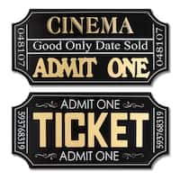 "Pack of 8 Movie Ticket Wall Plaques 19.75"" - Black"