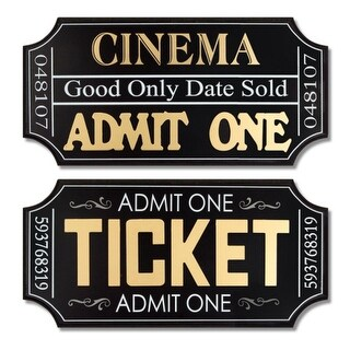 Pack of 8 Movie Ticket Wall Plaques 19.75""
