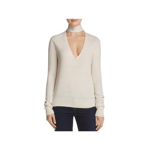 Theory Womens Choker Sweater Silk Cashmere Blend