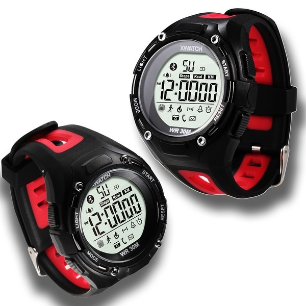 Indigi® Sports Styled Ruged Waterproof Bluetooth 4.0 Watch w/ Pedometer + SMS/Call Notification + Remote Shutter (Red)