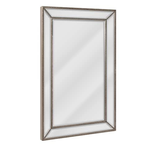Head West Metro Beaded Wall Mirror - Silver/Champagne - 20 x 32 - 20 x 32