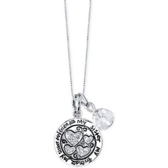 dad41c6cb Shop Macys Unwritten Friendship Charm and Crystal Necklace in Stainless  Steel - Silver - Medium - On Sale - Free Shipping On Orders Over $45 -  Overstock - ...
