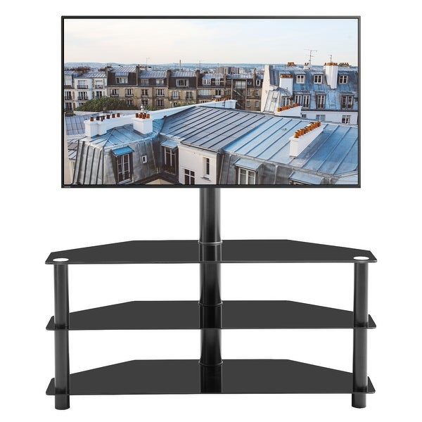 Swivel Floor TV Stand with Mount, Entertainment Center Height and Angle Adjustable with 3 Tier Sturdy Tempered Glass Base Black. Opens flyout.
