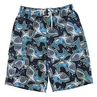OP Boys Blue Shark Print Adjustable Waist Swimwear Shorts