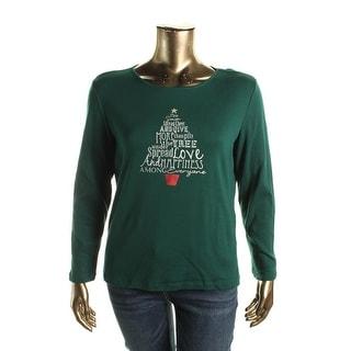 Karen Scott Womens Cotton Graphic Pullover Top - XL