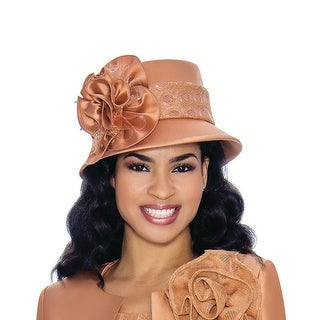Giovanna Collection Women's Small Brim Hat with Satin Flower and Lace Trim