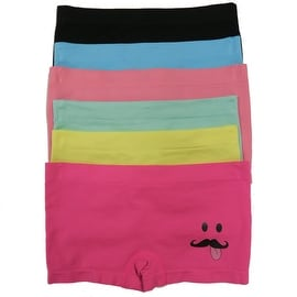 Girl's 6 Pack Seamless Mustache Print Underwear Panties