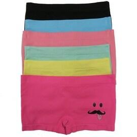 Girl's 6 Pack Seamless Mustache Print Underwear Panties