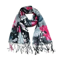 Women's Fashion Floral Soft Wraps Scarves - F2 Black Hotpink