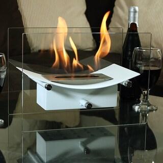 Sunnydaze White Zen Ventless Tabletop Fireplace Bio Ethanol Modern with Fuel