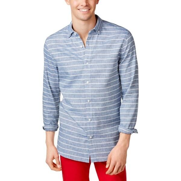 d9ff08b759 Shop Armani Jeans Mens Button-Down Shirt Striped Long Sleeve - XL ...