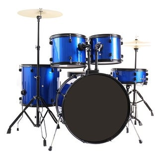 Costway 5-Piece Full Size Complete Adult Drum Set +Cymbal+Throne Blue