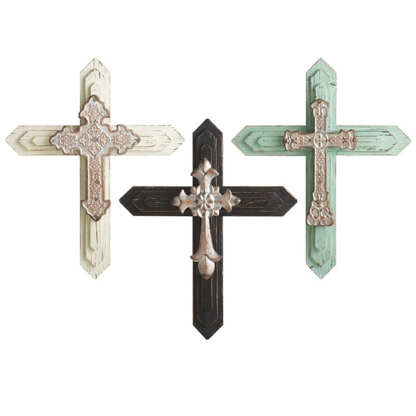 "Set of 3 Off White, Black and Green Distressed Finish 3 Assorted Large Layered Wall Cross 19"" - N/A"