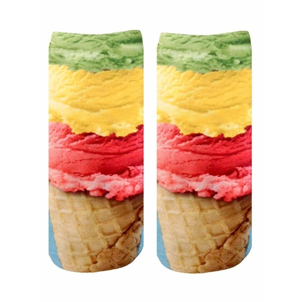 Ice Cream Photo Print Ankle Socks - Red