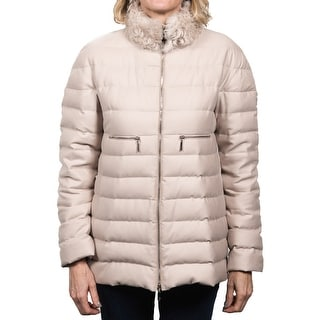 Moncler Arnica Fur Collar Gamme Rouge Down Jacket Beige Women's