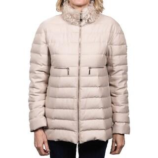 Moncler Arnica Fur Collar Gamme Rouge Down Jacket Beige Women's