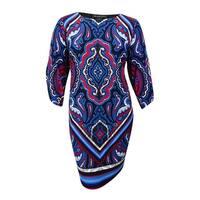 INC International Concepts Women's Cold-Shoulder Dress (1X, Diamond Paisley) - Diamond Paisley - 1X