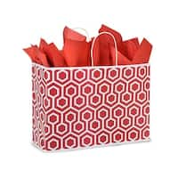 "Pack Of 250, Vogue 16 x 6 x 12"" Red Geo Graphics Recycled Paper Shopping Bag W/White Paper Twist Handles"
