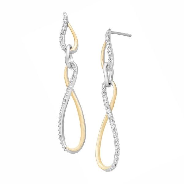 1/8 ct Diamond Loop Drop Earrings in Sterling Silver & 14K Gold