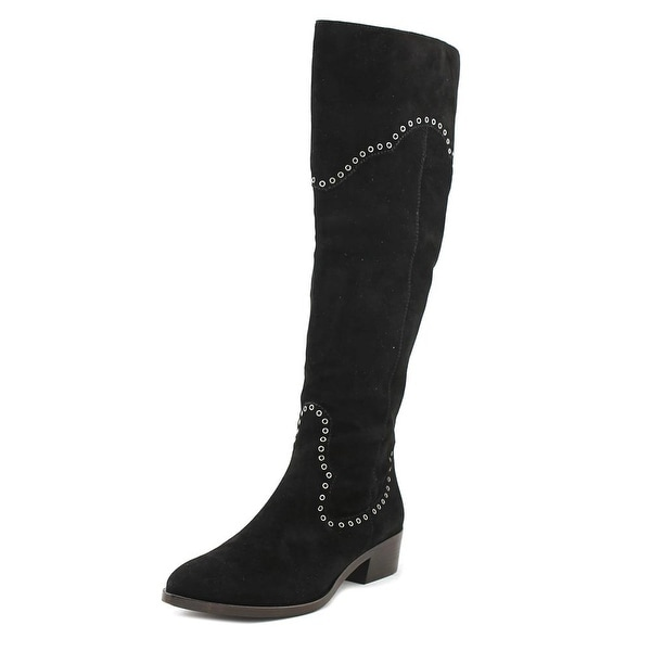 Frye Ray Grommet Tall Women Round Toe Suede Black Mid Calf Boot