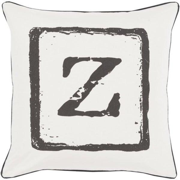"20"" Pewter Gray and Onyx Black ""Z"" Big Kid Blocks Decorative Throw Pillow - Down Filler"