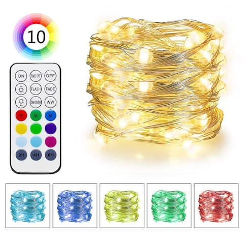 RGB & Warm White Color Changing LED Fairy Lights - Medium