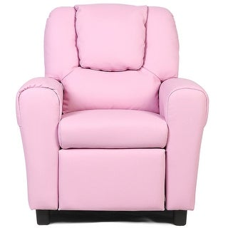 Costway Kids Recliner Armchair Children's Furniture Sofa Seat Couch Chair w/Cup Holder Pink