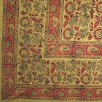 Handmade 100% Cotton Floral Block Tapestry Tablecloth Throw Coverlet Olive Twin Full