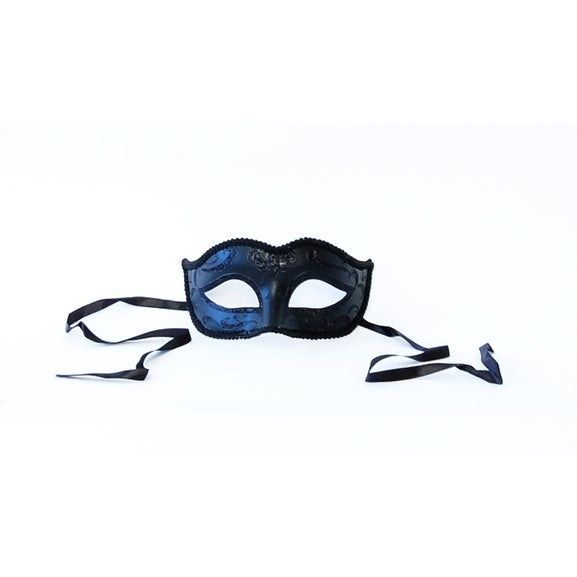 Black Midnight Eye Costume Mask - Blue