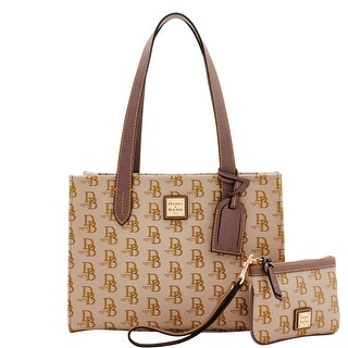 Dooney & Bourke 1975 DB Signature Sm Shopper & Med Wristlet (Introduced by Dooney & Bourke at $228 in Feb 2017) - elephant