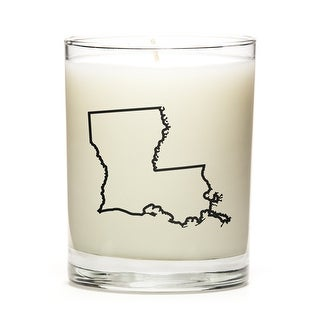 State Outline Soy Wax Candle, Louisiana State, Fine Bourbon