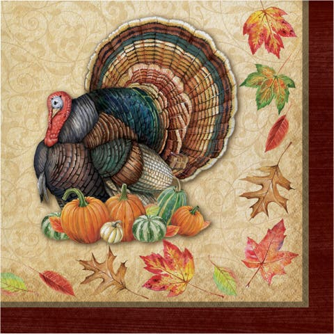"Club Pack of 192 Beige and Orange Thanksgiving Themed 2-Ply Luncheon Square Napkins 12.8"" - N/A"