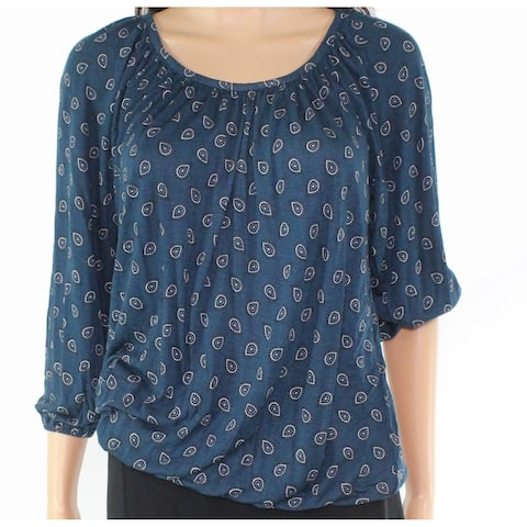 Michael Kors Women's Top Blouse Teal Blue Size XS Knit Paisley Printed